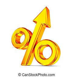 Percent on white background. Isolated 3D illustration