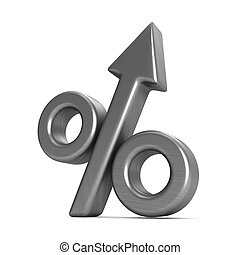 Percent on white background. Isolated 3D illustration