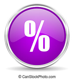 percent pink glossy icon