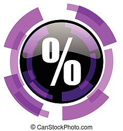 Percent pink violet modern design vector web and smartphone icon. Round button in eps 10 isolated on white background.