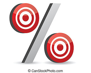 percent red symbol with conceptual targets