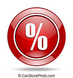 percent red web glossy round icon