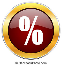 Percent red web icon with golden border isolated on white background. Round glossy button.