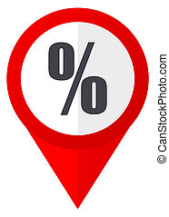 Percent red web pointer icon. Webdesign button on white background.