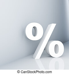 Percent - Rendering of a white percent sign on a reflective...