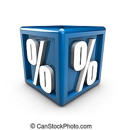 Percent - Rendering of percent symbols on a blue cube