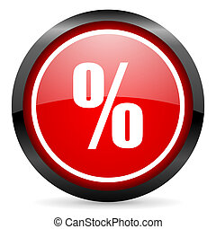 percent round red glossy icon on white background