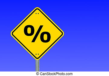 percent sign - percent symbol on yellow road sign and...