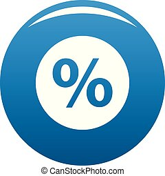 Percent sign vector icon blue vector