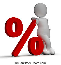 Percent Sign With 3d Man Shows Percentage Or Discount -...