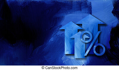 Percent sign with arrows on textured graphic background