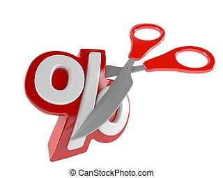 Percent symbol with scissors