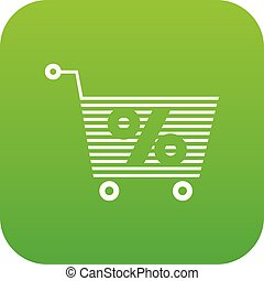 Percent trolley icon green vector