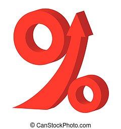 Percent up arrow icon, cartoon style