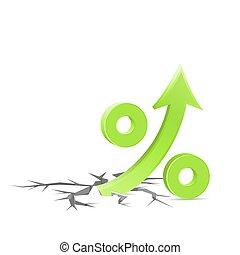 Percent up sign