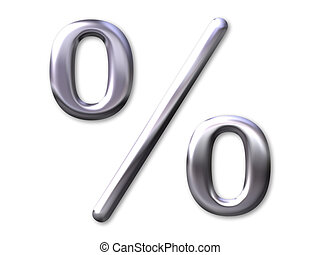 Percentage – silver bevel with white background