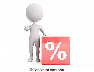 percentage, 3d, karakter, humanoid, meldingsbord