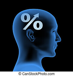 Percentage - an index of intelligence - Conceptual image -...