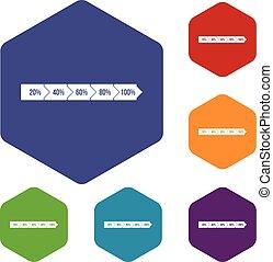 Percentage arrow infographic icons set