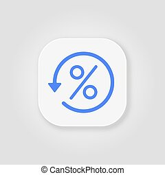 Percentage blue vector icon, illustration symbol on gray background