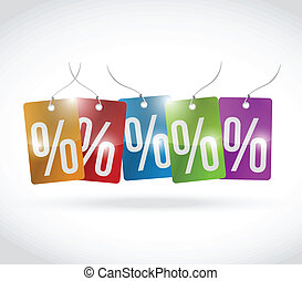 percentage colors tags illustration design over a white...