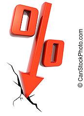 Percentage drop financial concept