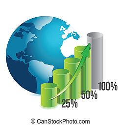 percentage graph and globe illustration design over white