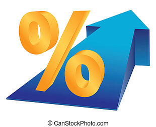 Percentage growing - Percent sign and growing arrow as...