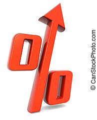 Percentage growing financial concept