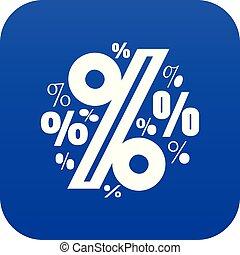 Percentage icon blue vector