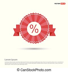 Percentage Icon - Red Ribbon banner