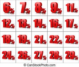Percentage Numbers Series 2 - Red Percentage Numbers Series...