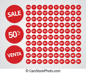 Percentage Off Sticker Set - Complete set of percentages off...