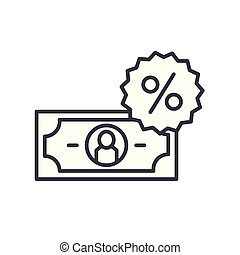 Percentage rate black icon concept. Percentage rate flat  vector symbol, sign, illustration.