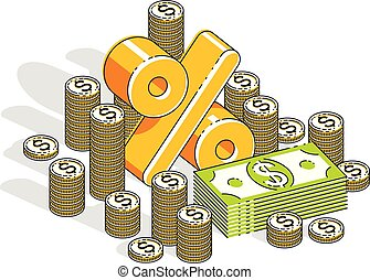 Percentage rate earnings income concept, percent dimensional symbol with cash money stack isolated on white background. Vector 3d isometric business and finance illustration, thin line design.