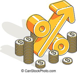 Percentage rate income profit concept, percent dimensional symbol with cash money stack isolated on white background. Vector 3d isometric business and finance illustration, thin line design.