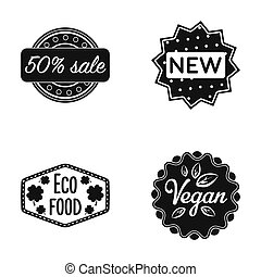 Percentage sale, new, eco food, vegan. Label, set collection icons in black style raster, bitmap symbol stock illustration web.