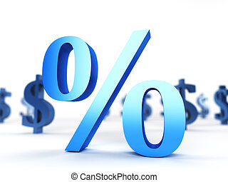 Percentage sign - 3d rendered illustration of a percentage...