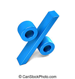 Percentage sign blue icon. 3D rendering illustration