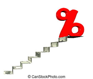 Percentage sign on top of money stairs, 3D rendering