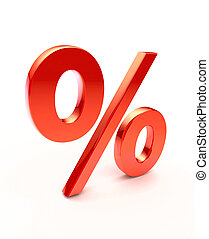 Percentage sign - Red 3d percentage sign - isolated on white...
