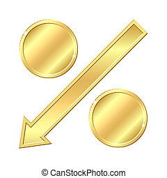 Percentage sign with gold coins.