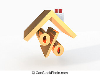 Percentage sign with roof 3D