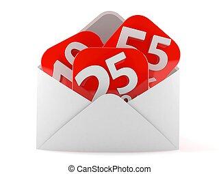 Percentage symbol inside envelope