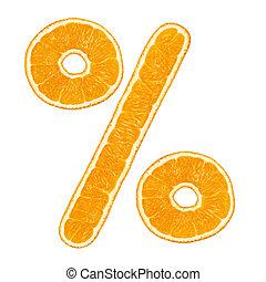 Percentage symbol look like orange fruit