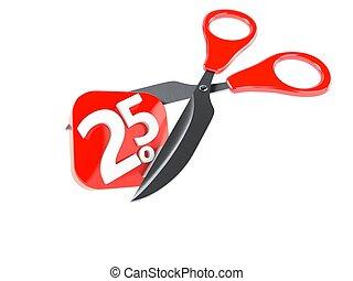 Percentage symbol with scissors