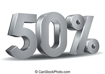 Percentage vector, 50 - Vector of 50 percent in white...