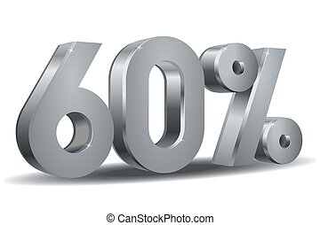 Percentage vector, 60 - Vector of 60 percent in white...