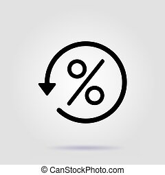 Percentage vector icon, illustration symbol on gray background