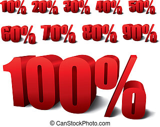 percentages - collection of 3d percentages